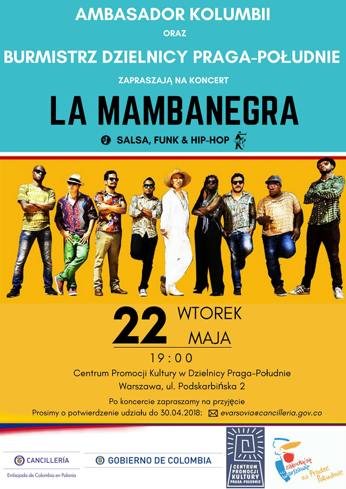 Zaproszenie od Ambasadora Kolumbii na koncert zespołu Mambanegra w Warszawie, 22 maja 2018