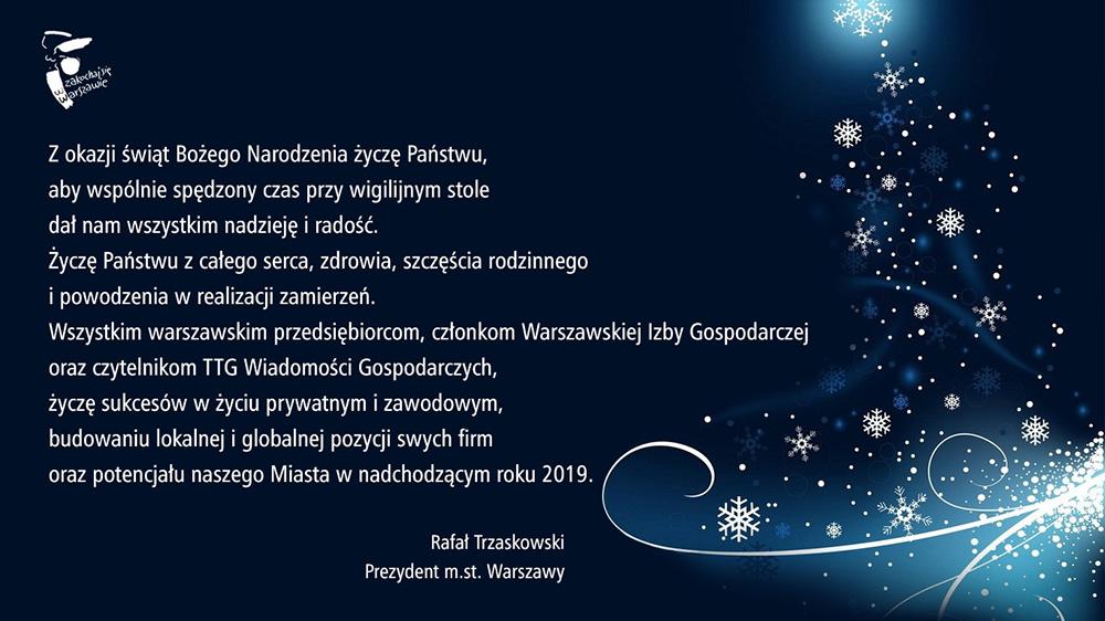 Życzenia od prezydenta Warszawy Rafała Trzaskowskiego