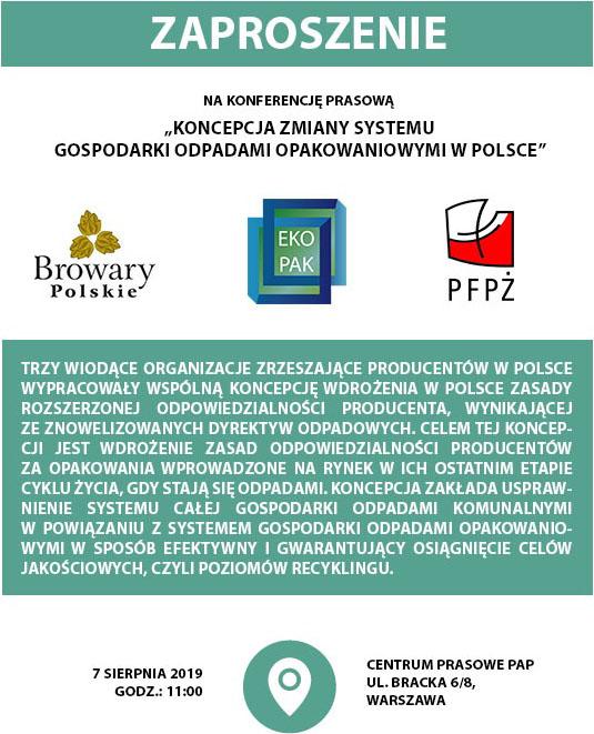 """Konferencja prasowa """"Koncepcja zmiany systemu gospodarki odpadami opakowaniowymi w Polsce"""""""