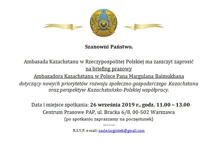Briefing prasowy Ambasadora Kazachstanu w Polsce